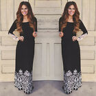 Fashion Women Summer Lace Long Sleeve Party Evening Cocktail Maxi Long Dress A
