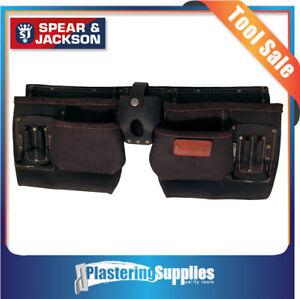 Spear-amp-Jackson-Tool-Apron-Nail-Bag-10-Pocket-Leather-Builders-SJ-LPBA10