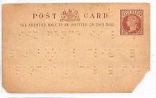 AZ57 1890s GB *BRAILLE* Impressed Stationery Postcard Faults RARE {samwells}PTS