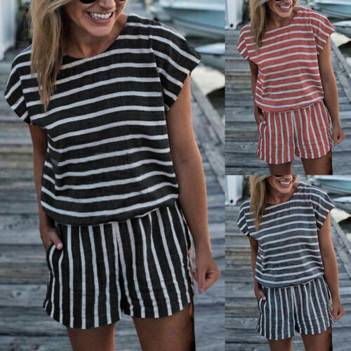 Summer Women Striped Mini Jumpsuit Holiday Playsuit Casual Top Dress Shorts