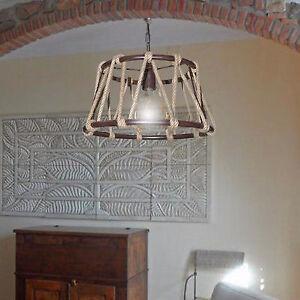 SOSPENSIONE lampadario CORDA DI CANAPA Ø40 RUSTICO COUNTRY cucina ...