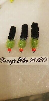 new 2020 3x #10 light lime /& black tadpole Wotsit Mop yellow head conceptflies