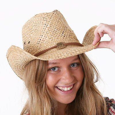 one size elasticated inner band Unisex Vintage Straw Cowboy Hat