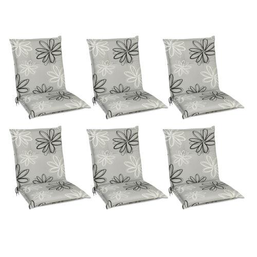 6x Sitzkissen Auflagen Niedriglehner Stuhlauflagen Polster Kissen Gartenstuhl