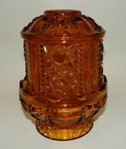 Vintage-Indiana-Glass-Amber-Stars-amp-Bars-Candle-Holder-Fairy-Lamp
