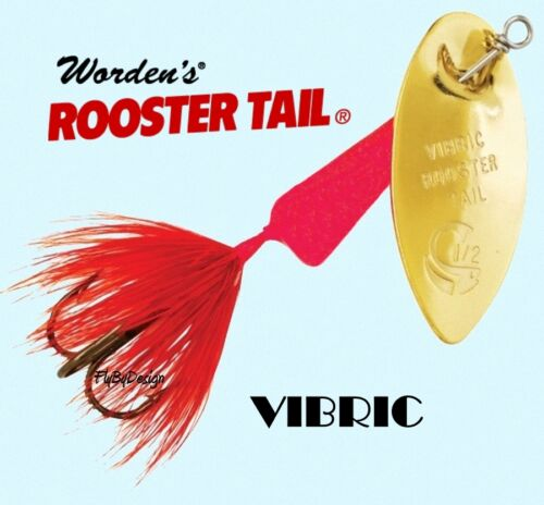 Size Choice Hook New Vibric FLUORESCENT RED Rooster Tail Weight /& Quantity