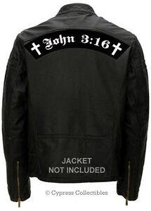 JOHN 3:16 LARGE BIKER PATCH JESUS CHRISTIAN ROCKER embroidered iron-on BIBLE new