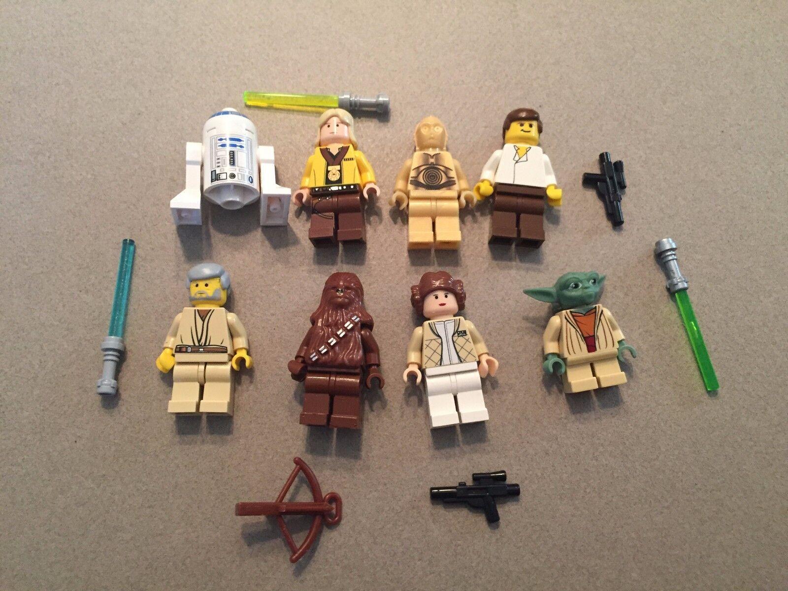 LEGO LEGO LEGO lot of 8 Star Wars Good Guy Minifigs Yoda Luke Leia Han R2-D2 Chewie H368 b8d294
