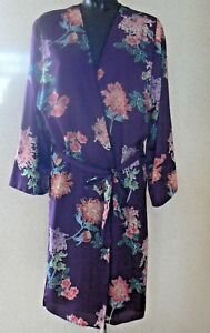 Marks Spencer Kimono Dressing Gown Robe Purple Floral Print Uk