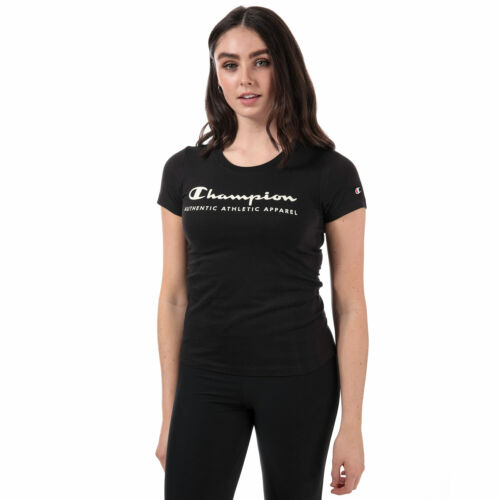 Womens Champion Peached Light Cotton T-Shirt In Black