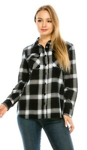 YAGO-Women-039-s-Plaid-Flannel-Button-Down-Casual-Shirt-Black-Navy-White-2-S-2XL