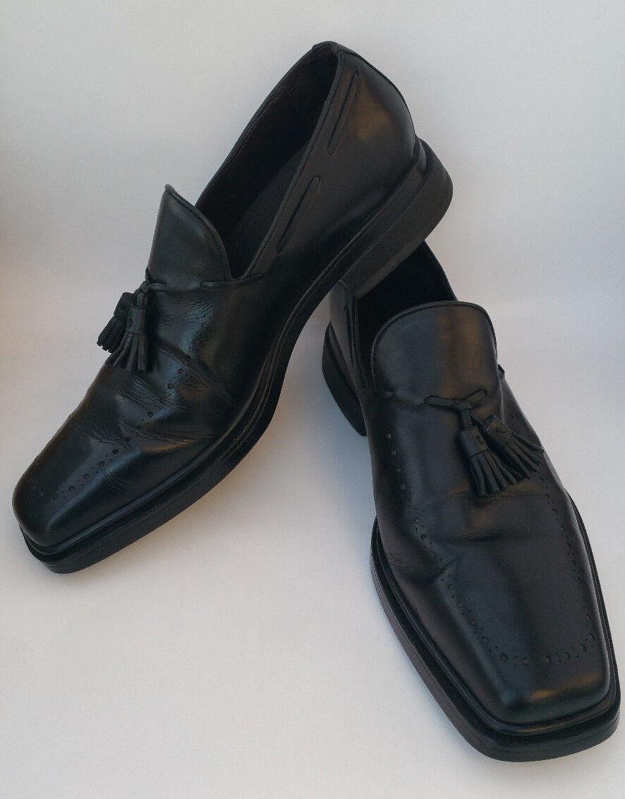 DONALD J PLINER MENS 10 M BLACK LEATHER DRESS TASSELS LUXURY LOAFERS SHOES PRIMO