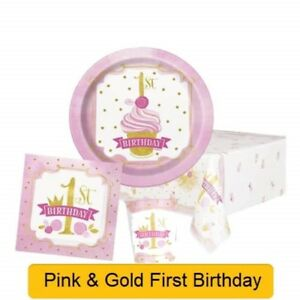 Image Is Loading PINK Amp GOLD 1st First BIRTHDAY Girl Party