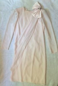 Vintage-80s-90s-After-Dark-Women-Formal-Dress-Sz-9-10-Pink-Chiffon-Drape-Big-Bow
