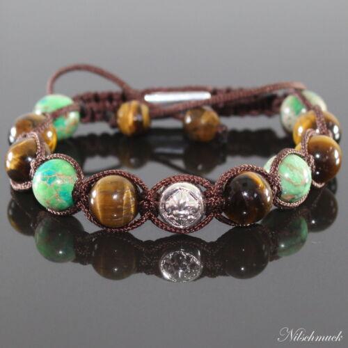 Herren Grün Impression Edelstein Perlen Shamballa Armband für Männer verstellbar