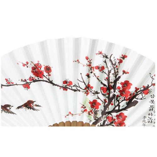 Korean Paper Bamboo Folding Fan Korean Tradition Hand Fan Plum Blossom Picture
