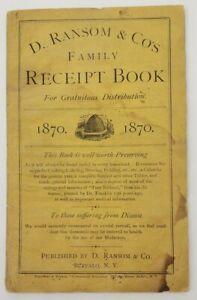 1870 D. Ransom Family Receipt Book  - Cooking, Brewing, Calendar, Pickling N.Y.