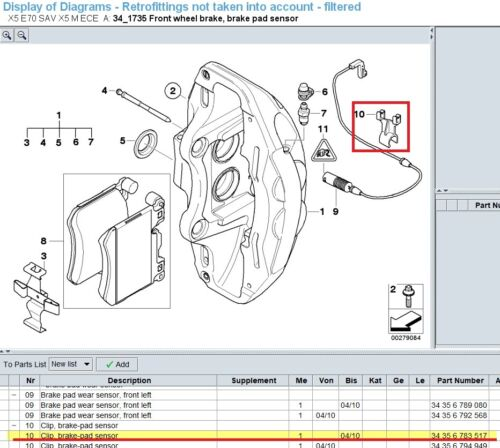 BMW Genuine Clip for Pad Sensor Wire 34356783517