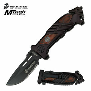 MTECH USMC MARINES TACTICAL MILITARY RESCUE KNIFE Spring Assisted Pocket Blade