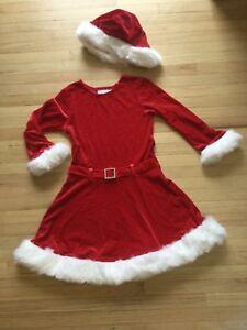 49d2f1b34ee7d Bonnie Jean Christmas Dress Santa Red Sparkle Fur Trim Velvet Hat ...