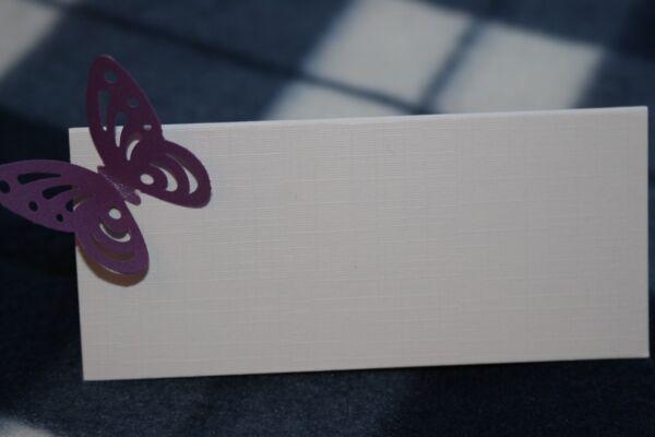 10 Bianco Nome Segnaposto Con Cadbury Viola Shimmer Perla Farfalla, Matrimoni Diversificato Nell'Imballaggio