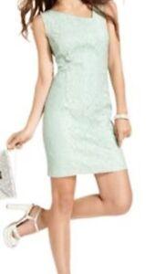 Jessica-Simpson-Dress-Sz-4-Grayed-Jade-Sequin-Lace-Cocktail-Party-Dress
