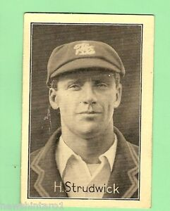 1926  FAMOUS TEST MATCH CRICKETERS CARD - #19 H. STRUDWICK, SURREY & ENGLAND