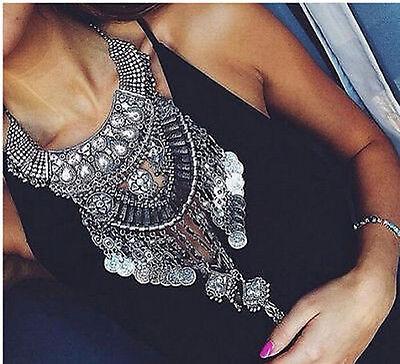 New Design women silver trendy long big bib Statement bohemain   necklace collar