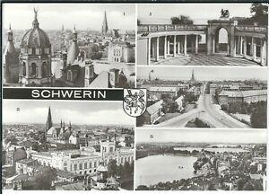 Ansichtskarte-Schwerin-Blick-vom-Schlossturm-Dom-Hochhaus-Schlossgarten-s-w