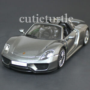 bburago 18 24076 porsche 918 spyder 1 24 diecast model car grey ebay. Black Bedroom Furniture Sets. Home Design Ideas