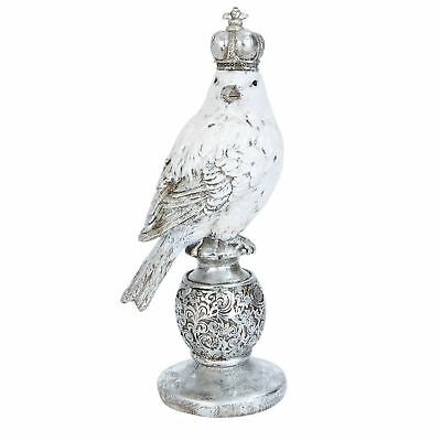 Deko Vogel Zaunkönig mit Krone silber Vintage Brocante 8 x 9 cm