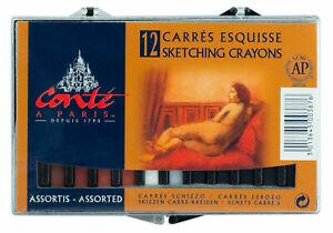 Conte-a-Paris-Carre-Sketching-Crayons-2-1-2-034-x-1-4-034-Square-Sticks-12-Asst-Cover2