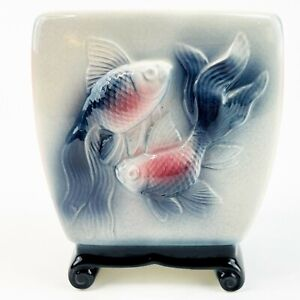 "Vintage Royal Copley Koi Fish Vase Planter Asian Inspired 5.5"" Footed 3D Blue"