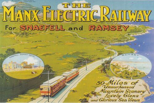 Vintage Railway Advert Jumbo Fridge Magnet Manx Electric Railway