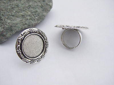 4 x Tibetan Silver Ring Trays Round/Oval Base Blank Setting Cameo Cabochon