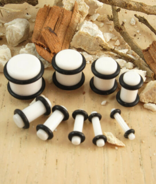 Pair Acrylic White Solid Ear Plug w/O-Ring Stretching Gauge Expanding Eyelet Set