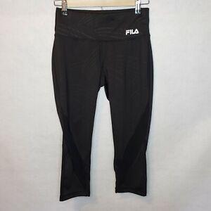 Womens-Fila-Capri-Leggings-Black-Activewear-Running-Yoga-Workout-Gym-Drawstring