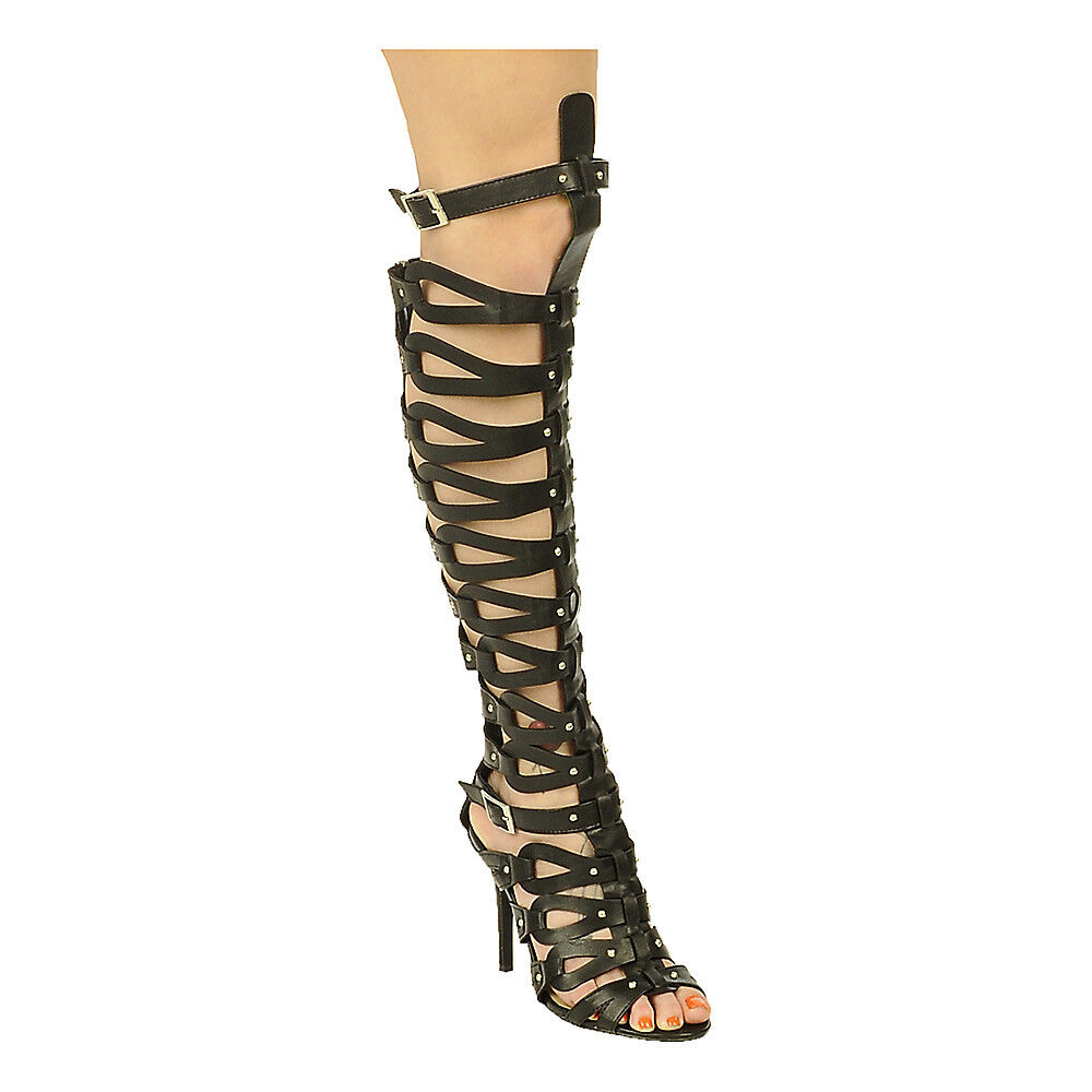 "new Black 4.5""High Heel Open Toe Strap Sexy Summer Gladiator Knee heel  Size 5.5"