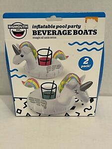 Bigmouth Inc Inflatable Pool Party Unicorn Beverage Boats Floats 2 Pack