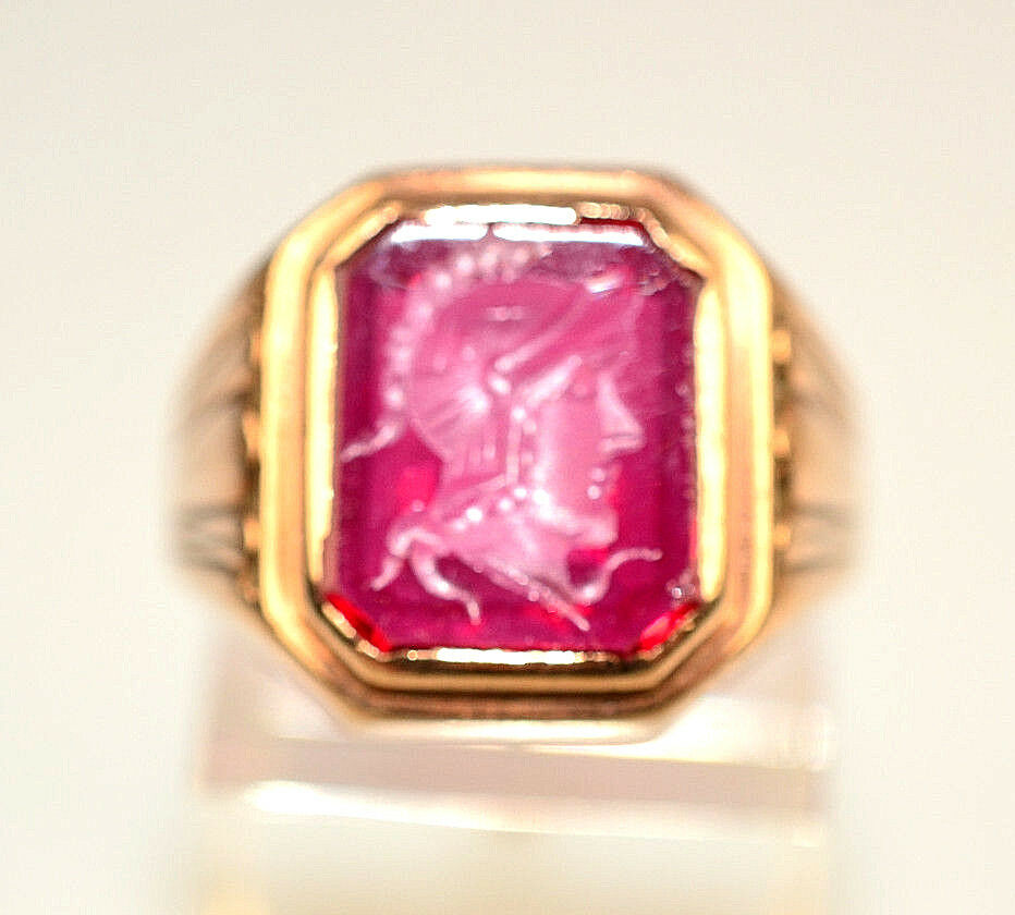 MENS ANTIQUE ART DECO gold FILLED RING RED CARVED INTAGLIO GLADIATOR SIZE 7.5