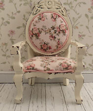 Dollhouse Miniature Shabby Chic Side Chair with Tiny Rose Print Fabric #2