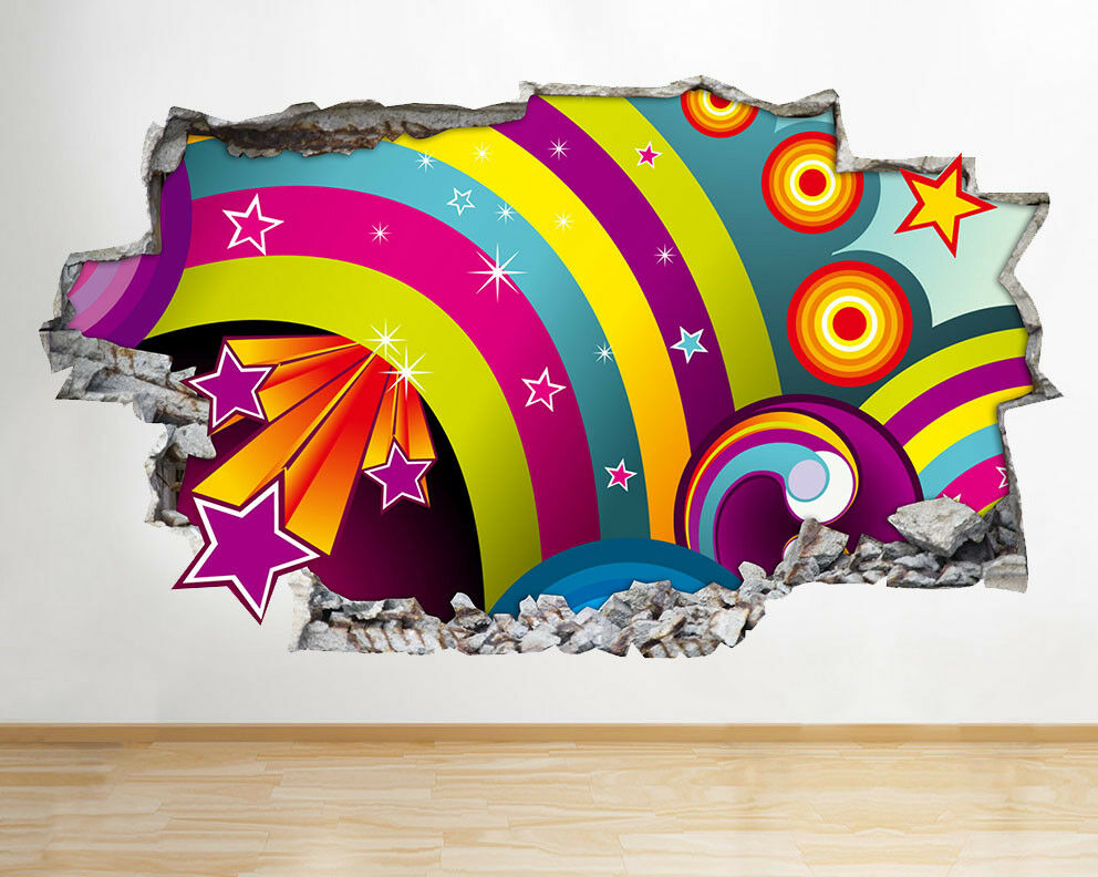 D766 Filles Cartoon Funky stars Kid Smashe Autocollant Chambre 3D Vinyle enfants