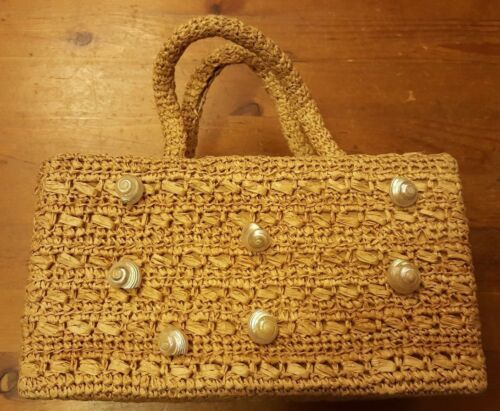 Vintage, It's In the Bag Made for Ritter, Raffia with Shells, Handbag (1950's)