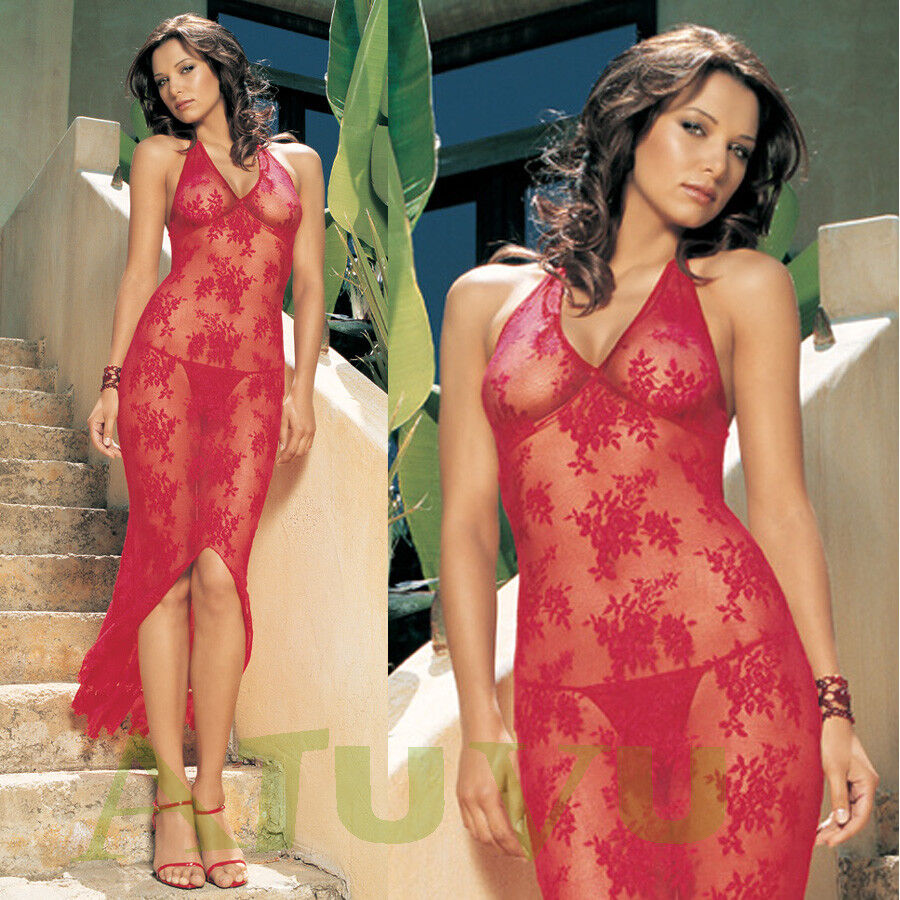 Robe Longue Transparente Dentelle Plage Dos Nu Nuisette red + String 36 38 40