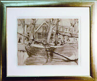 Fischerboot um 1910 Kohle, Fritz Wimmer 1879-1960 Neuburg/Inn, publiziert + Buch