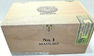 Wood Cigar Box Excalibur Hoyo Monterrey Maduro 8 x 5 x 4 Hinge Top Storage Craft