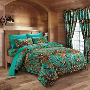 Details about 7 pc teal camo comforter and sheet set king camouflage