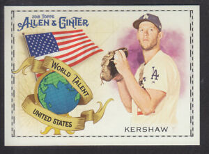 Topps-Allen-amp-Ginter-2018-World-Talent-WT-48-C-Kershaw-Los-Angeles-Dodgers