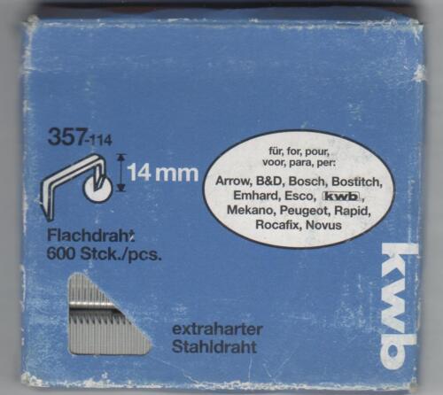 KWB agrafes 6,1 x 14 mm Type 057 étroit dos et pointe acier 357-114