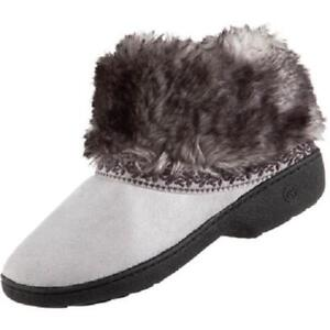 a5e6791cea4d1e ISOTONER Microsuede Basil Low BOOT Style Slipper Shoe Stormy GRAY w ...
